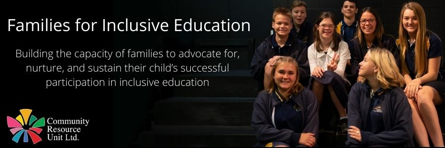 A banner image of a smiling group of students, one of whom has a visible disability. It includes the CRU logo and the text 'families for inclusive education.